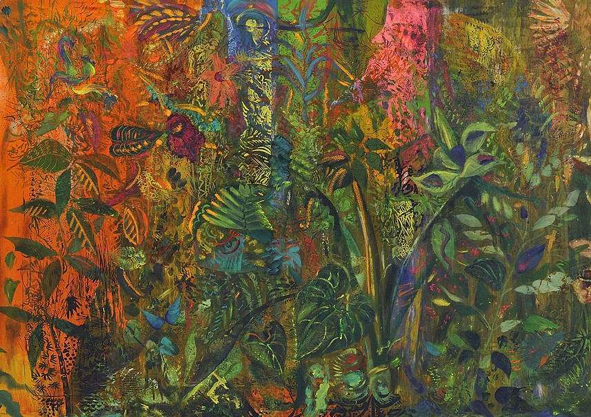 SPRING READING ROOM | books on eternal grass under anti cocaine paintings